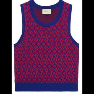 Gucci Wool and Cotton Blend Skull Sweater Vest  L